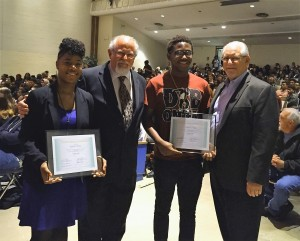 The 2016 Chuck Deyo Scholarships were presented at the NHS Awards Ceremony in  May.  Recipients Cierra King and Wedly Cazy received the awards from NHSAF Board Members Neal (Ric) Johnson and Randy Suver, both from Class of 71.
